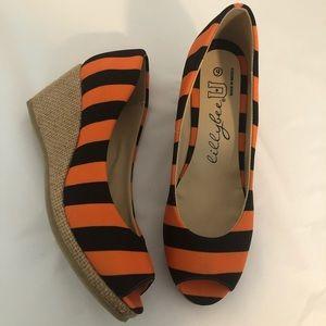 Lilybee U orang and black wedge peep toe Shoes 9